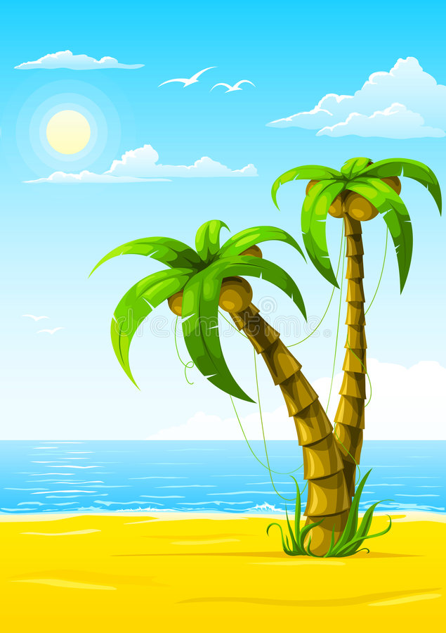 Vector summer beach with sea sun and palm tree stock illustration