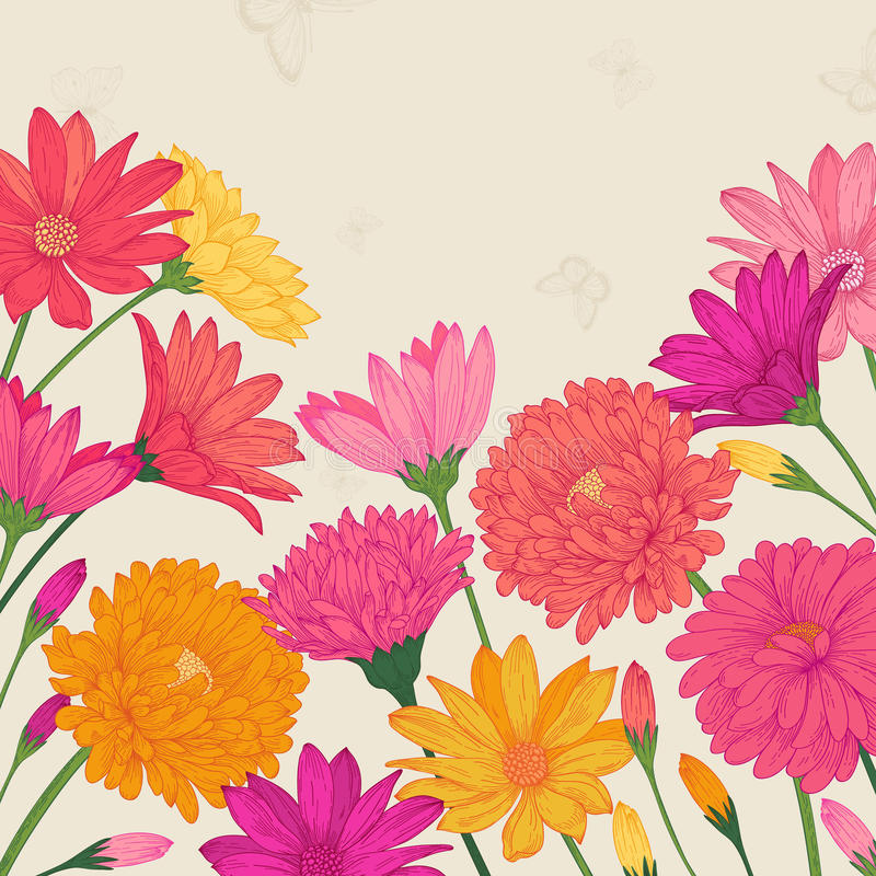 Vector summer card. With colorful flowers asters and daisies in vintage style stock illustration