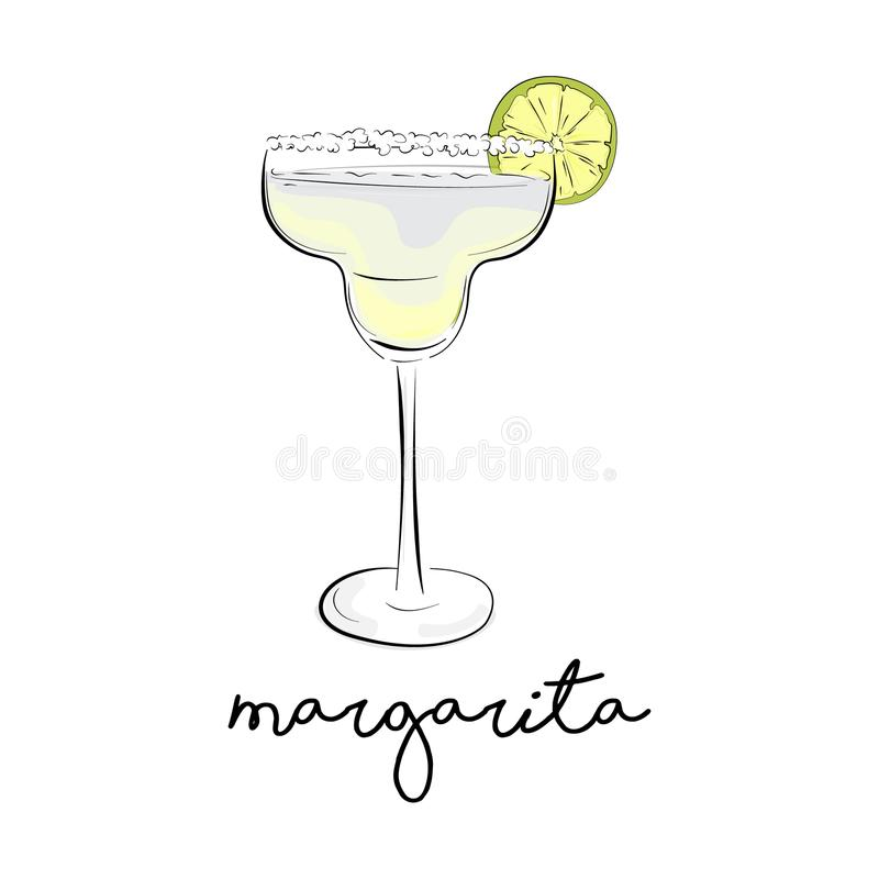 Vector summer cocktail. Margarita alcohol drink. Cosmopolitan froozen liquor in glass. Green juice bar beverage. Co stock illustration