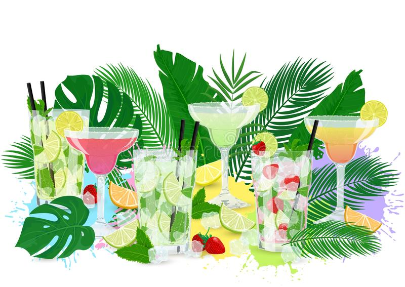 Vector summer cocktail set with tropic leaves. Vector illustration of summer cocktails set with tropic leaves and fruits. Design with Classic Mojito, Strawberry stock illustration