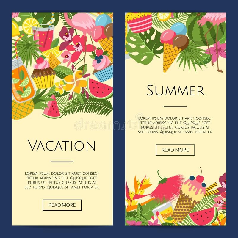 Vector summer cocktails, flamingo, palm leaves on banner. Vector flat cute summer elements, cocktails, flamingo, palm leaves web banner templates illustration royalty free illustration