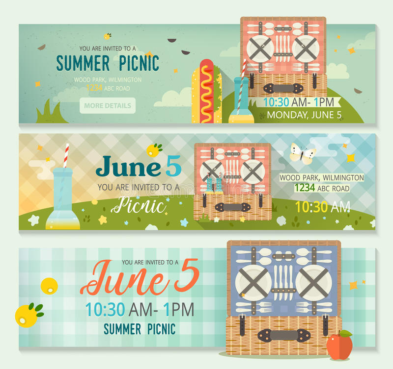 Vector summer collection of family picnic banner horizontal banners download vector summer collection of family picnic banner horizontal banners set of picnic glade stopboris Choice Image