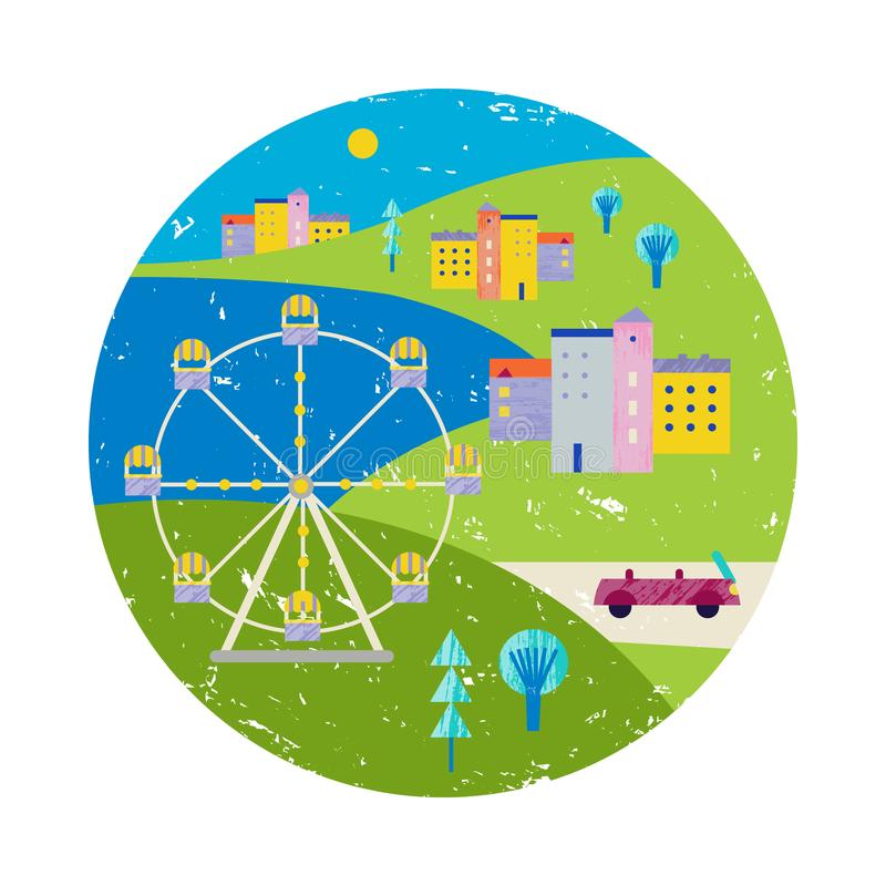 Vector summer colorful illustration, travelling, holidays. City, town view in circle with lake and ferris whee stock illustration