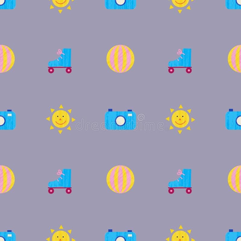Vector summer colorful illustration, travelling, holidays. Seamless pattern, background, fabric, paper wrapping. Beach royalty free illustration