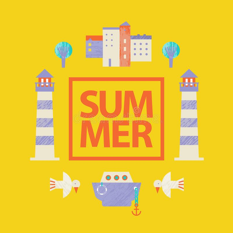 Vector summer colorful illustration, travelling, holidays. Yellow poster, card with sea town elements royalty free illustration