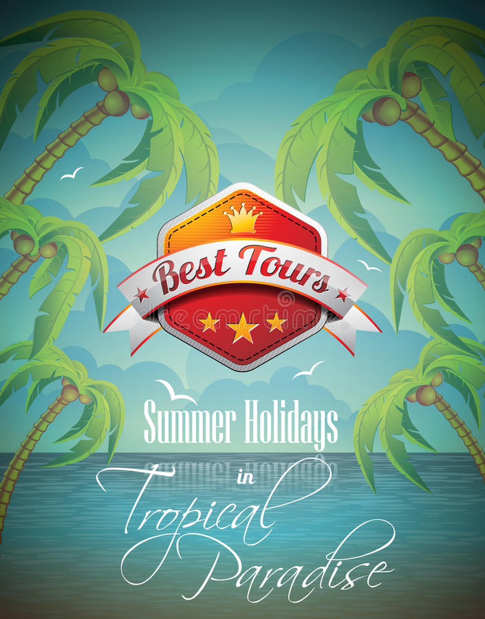 Download Vector Summer Holiday Flyer Design With Palm Trees. Royalty Free Stock Images - Image: 30379689