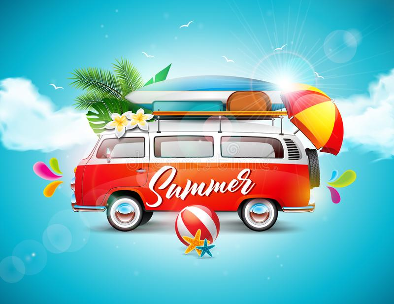 Vector Summer Holiday illustration on blue sky and cloud background. Tropical plants, flower, travel van, surf board and. Umbrella royalty free illustration