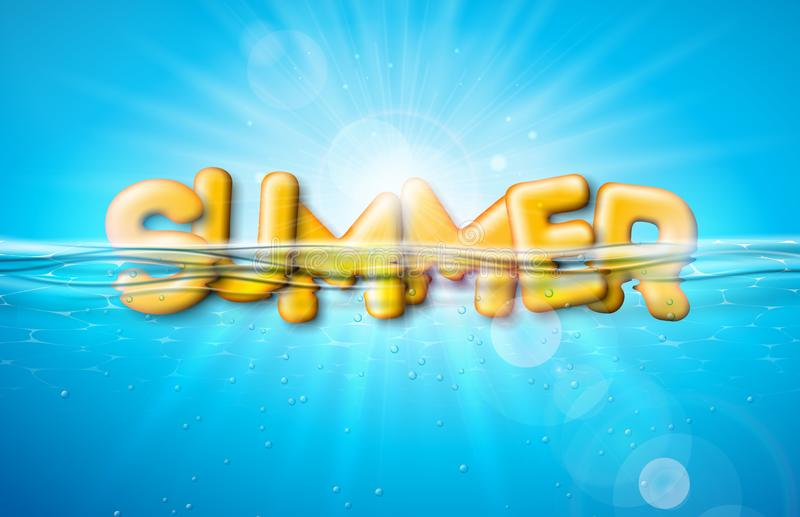 Vector Summer Illustration with 3d Typography Letter on Underwater Blue Ocean Background. Realistic Summer Vacation royalty free illustration
