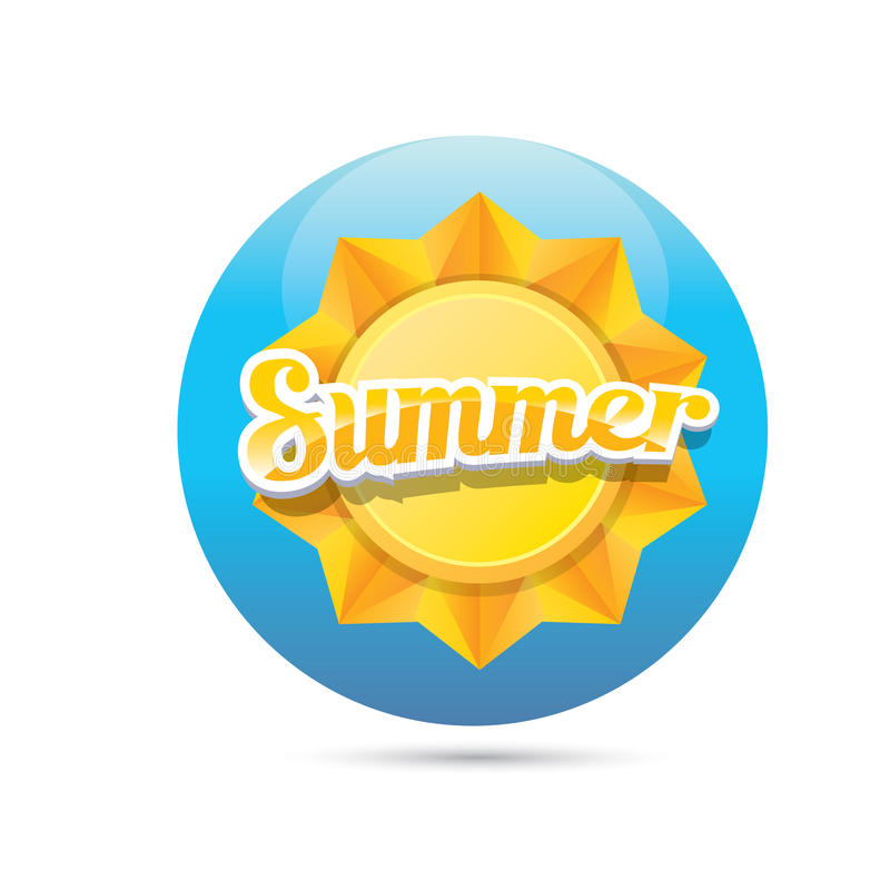 Vector summer label. summer icon with sun. Beautiful summer illustrations . vector summer label. summer icon with sun. Stylized design element. Background vector illustration