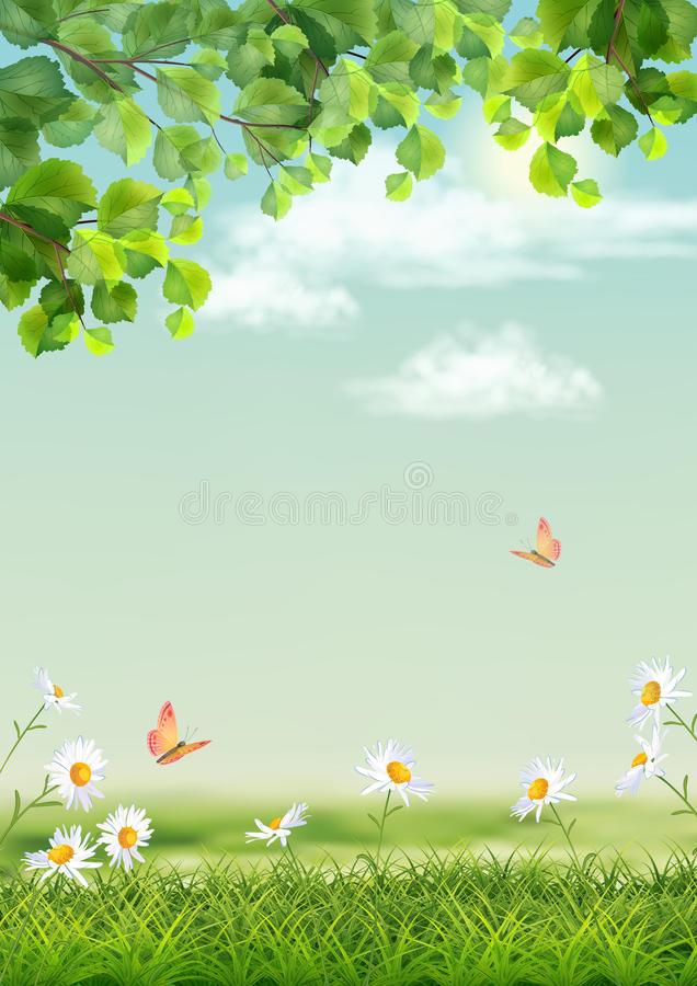 Vector Summer landscape vector illustration