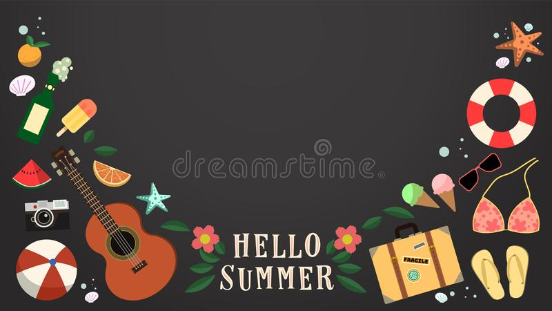 Vector summer objects with chalkboard background royalty free illustration