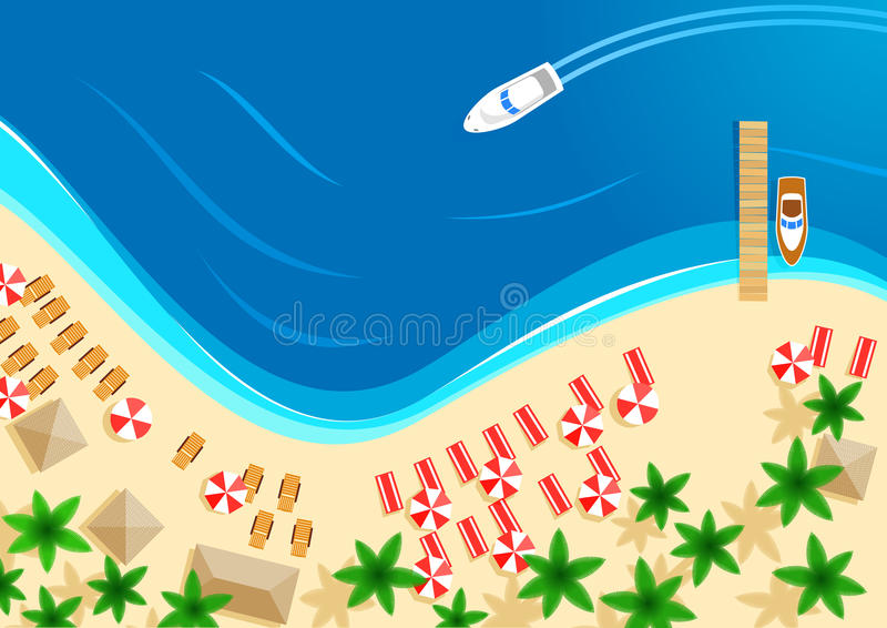 Vector summer ocean beach vacation top view royalty free illustration