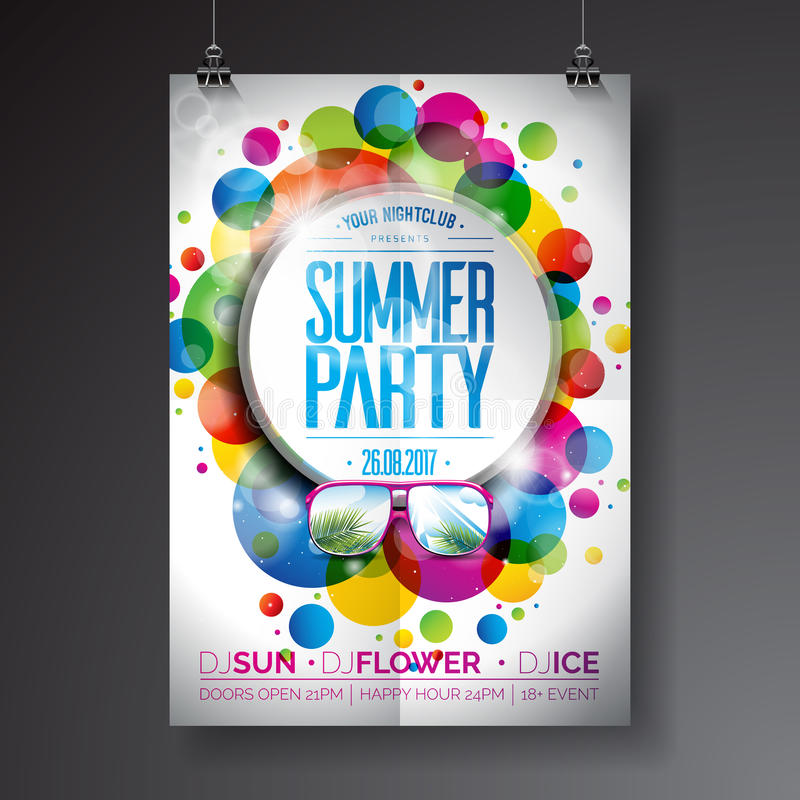Vector Summer Party Flyer Design with typographic design on abstract color circles background. stock illustration