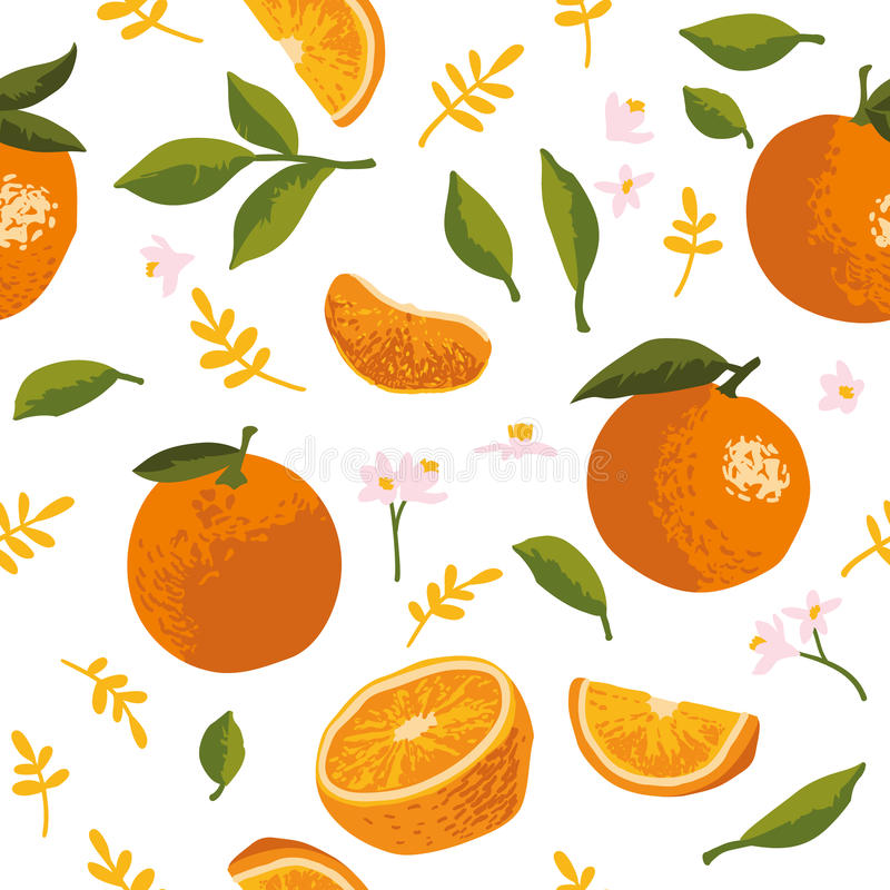 Vector summer pattern with oranges, flowers and leaves. Seamless texture design stock illustration