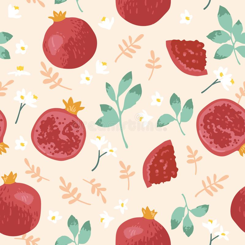 Vector summer pattern with pomegranates, flowers and leaves. Seamless texture design. royalty free illustration