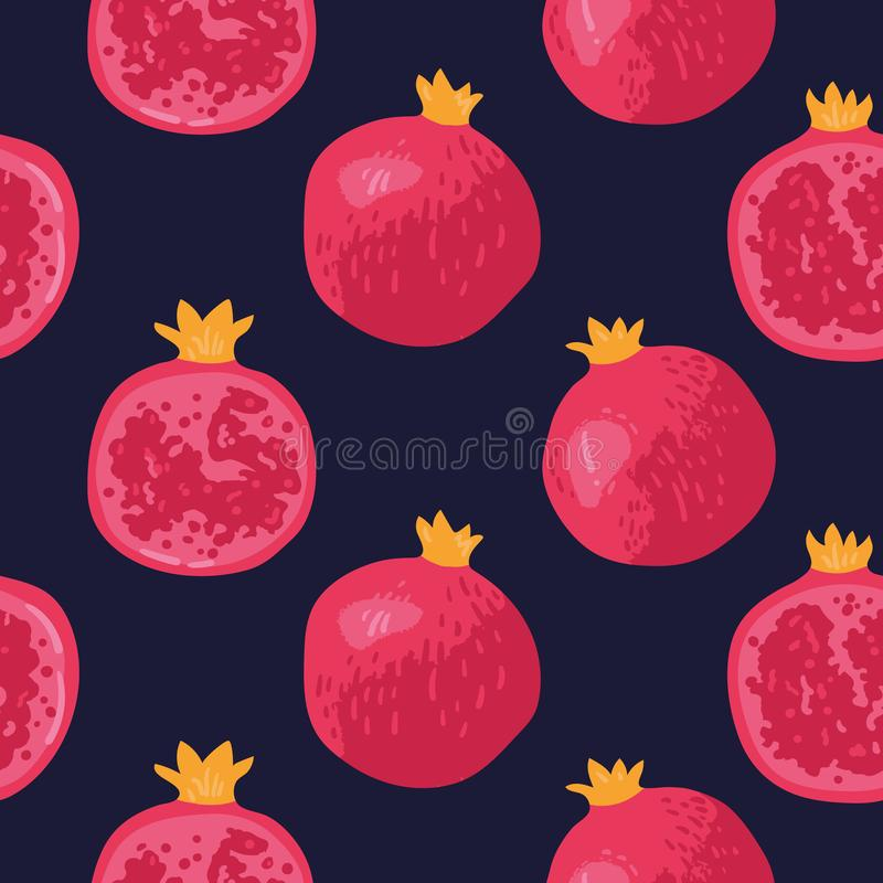 Vector summer pattern with pomegranates, flowers and leaves. Seamless texture design. vector illustration