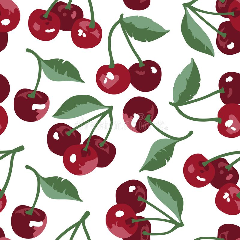 Vector summer pattern with sweet cherries, flowers and leaves. Seamless texture design. royalty free illustration