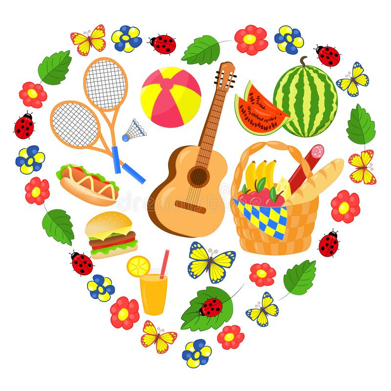 Vector summer picnic set in a heart of flowers and butterflies royalty free illustration