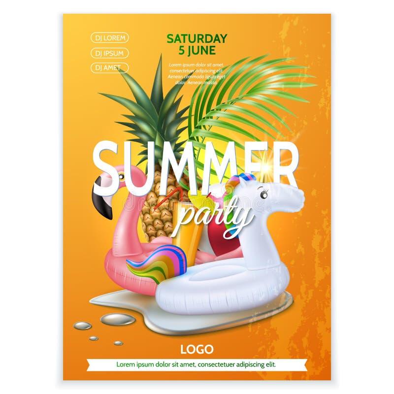 Vector summer pool party tropical leaf flamingo vector illustration