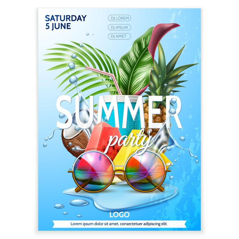 Vector summer pool party tropical leaf sunglasses royalty free illustration