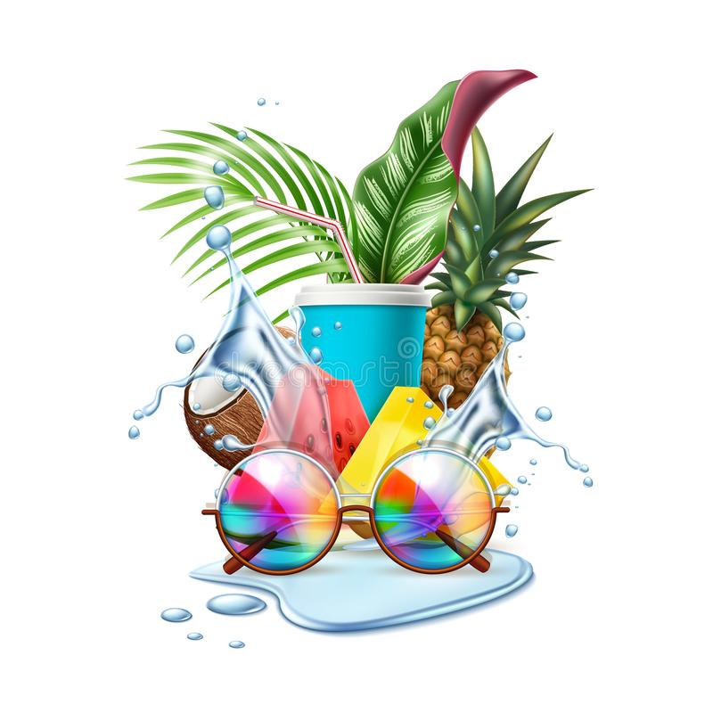 Vector summer pool party tropical leaf sunglasses stock illustration
