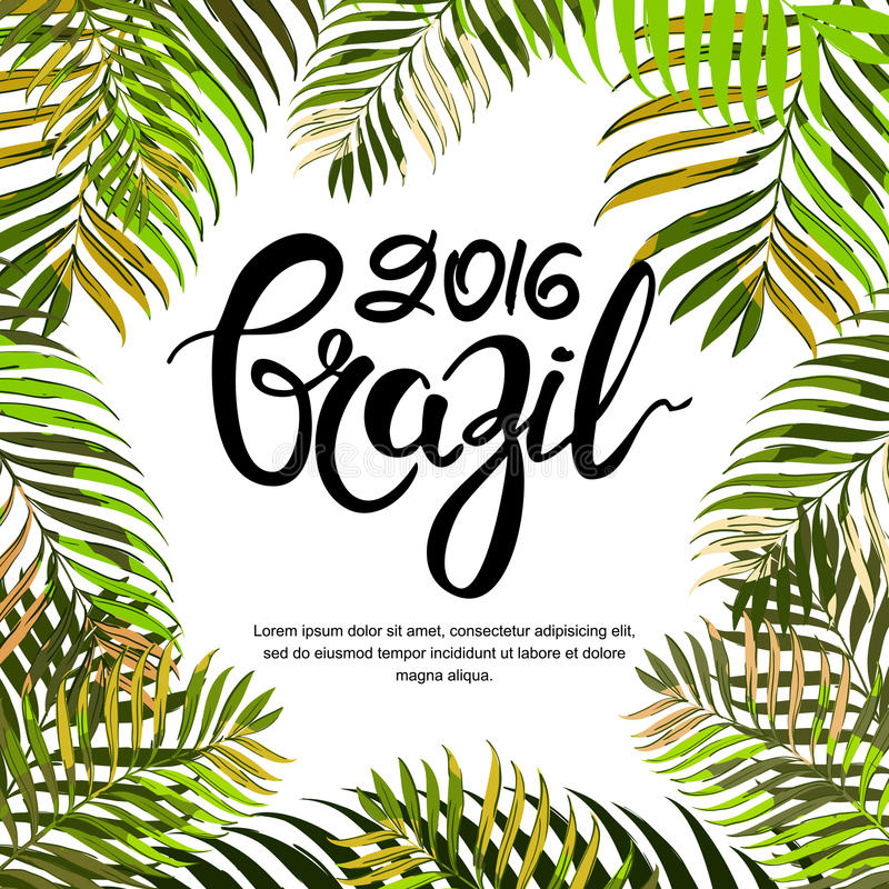 Vector summer poster, banner or invitation card. Brazil 2016 hand drawn calligraphy lettering. stock illustration