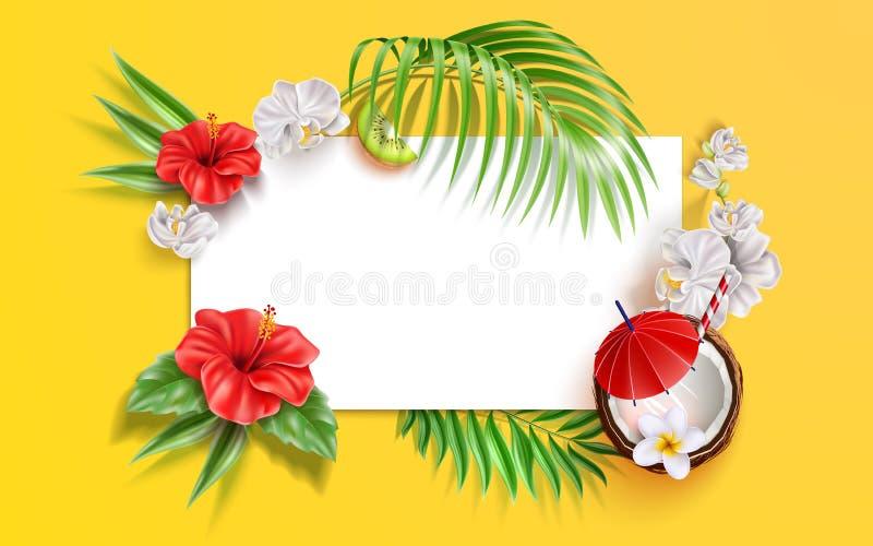 Vector summer poster tropical leaves flower fruits vector illustration