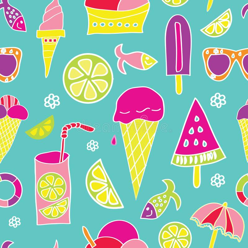 Vector summer repeating pattern with ice cream, sun glasses, fish, melon and lemon slices on blue background in vintage colors vector illustration