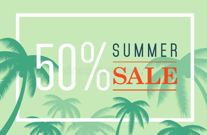 Vector summer sale banner. Palm silhouette and text on blue background. Big discount. vector illustration
