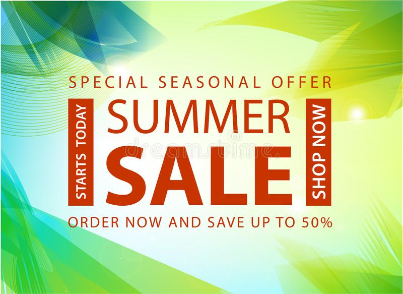 Vector summer sale banner, poster design, ad, flyer, brochure for print or web. Summer time art design, travel, discount royalty free illustration