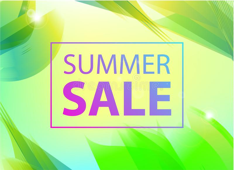 Vector summer sale banner, poster design, ad, flyer, brochure for print or web. Summer time art design, travel, discount vector illustration