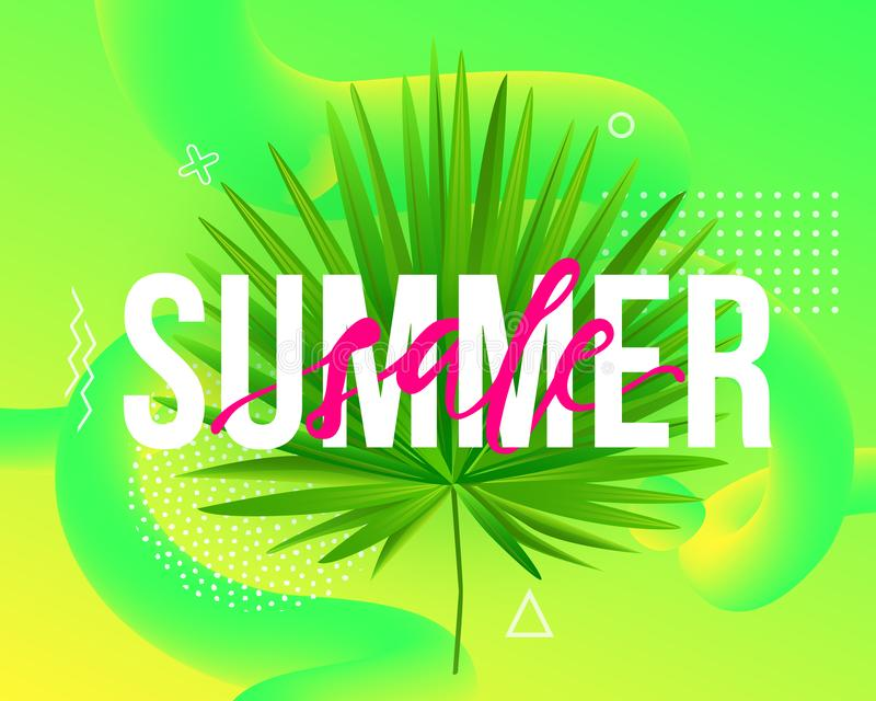Vector Summer sale trendy illustration. Modern background with liquid fluid shapes, tropical palm leaf and geometric elements stock illustration