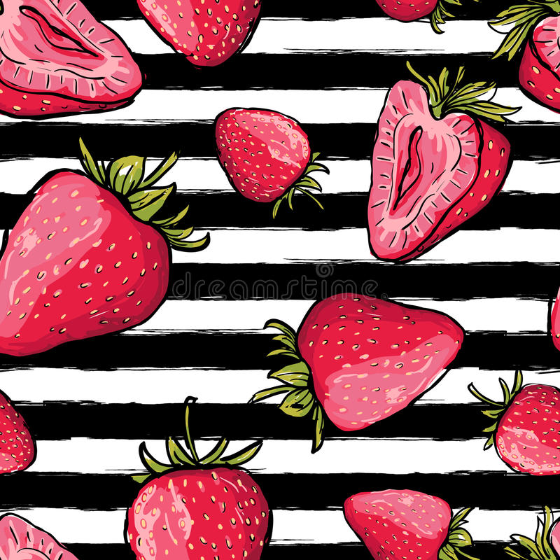 Vector summer seamless pattern. Red strawberries on black and white stock illustration