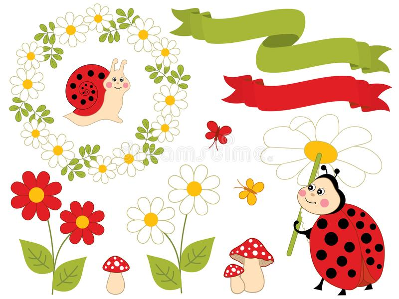 Vector Summer Set with Cute Cartoon Insects and Flowers royalty free illustration