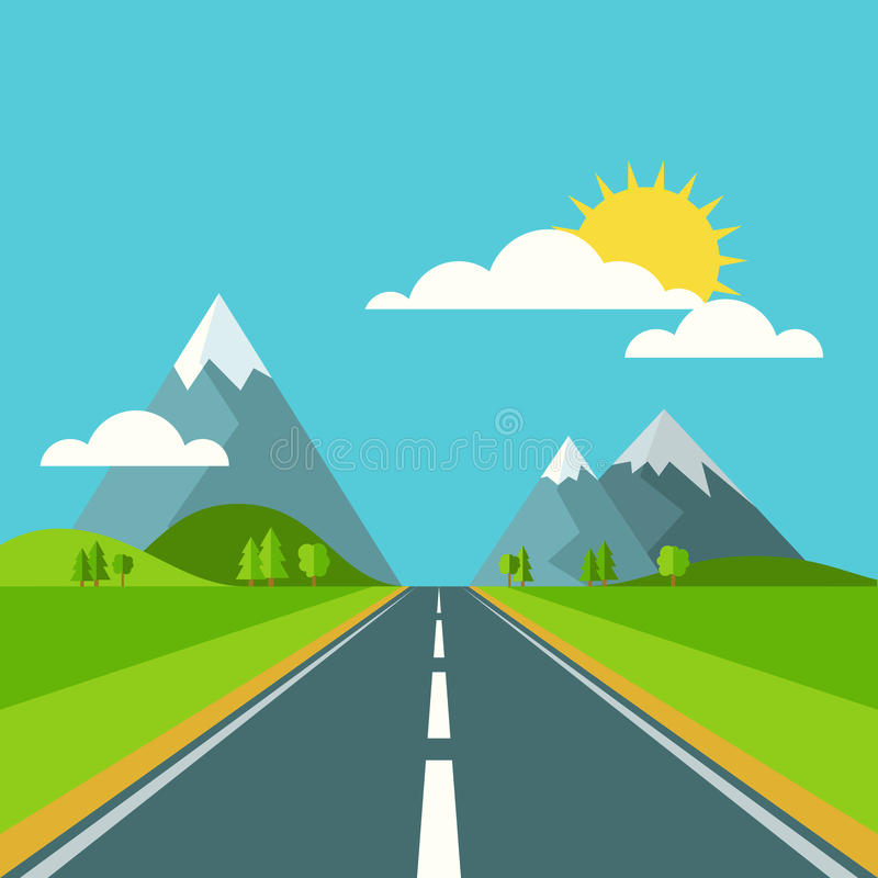 Vector summer or spring landscape background. Road in green vall. Ey, mountains, hills, clouds and sun on the sky. Flat design nature illustration vector illustration