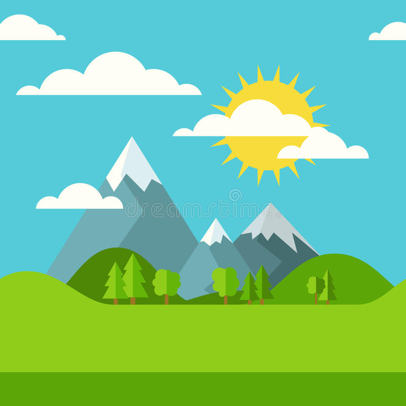 Vector summer or spring seamless landscape background. Green val. Ley, mountains, hills, clouds and sun on the sky. Flat design nature illustration with place stock illustration