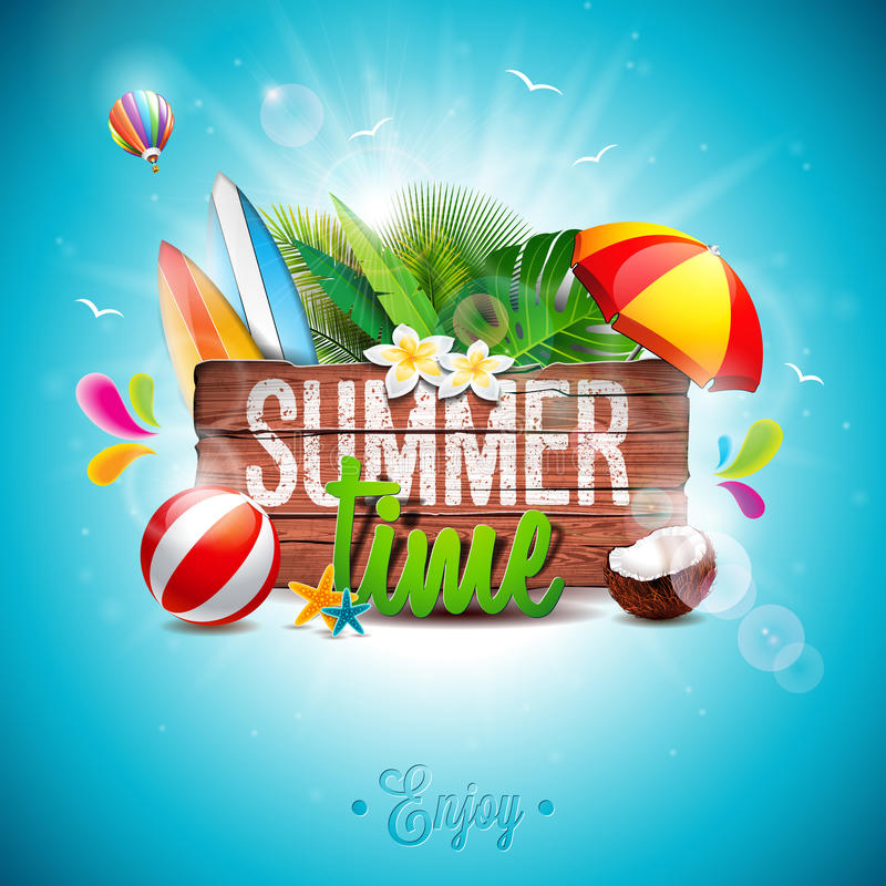 Vector Summer Time Holiday typographic illustration on vintage wood background. Tropical plants, flower, beach ball and sunshade. royalty free illustration