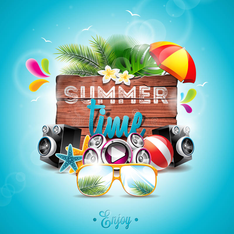 Vector Summer Time Holiday typographic illustration on vintage wood background. Tropical plants, flower, music elements. Beach ball and sunshade. Eps 10 design royalty free illustration