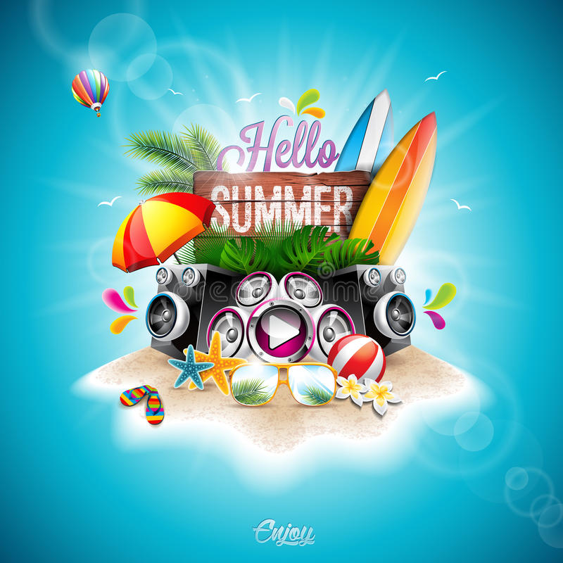 Vector Summer Time Holiday typographic illustrationwith surf boards on vintage wood background. Tropical plants, flower, music. Elements, beach ball and vector illustration