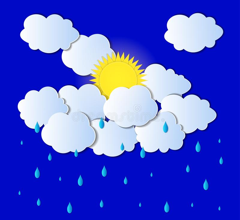 Vector Sun, Clouds and Rain Background, Light Gray Clouds and Drops, Paper Art. royalty free illustration