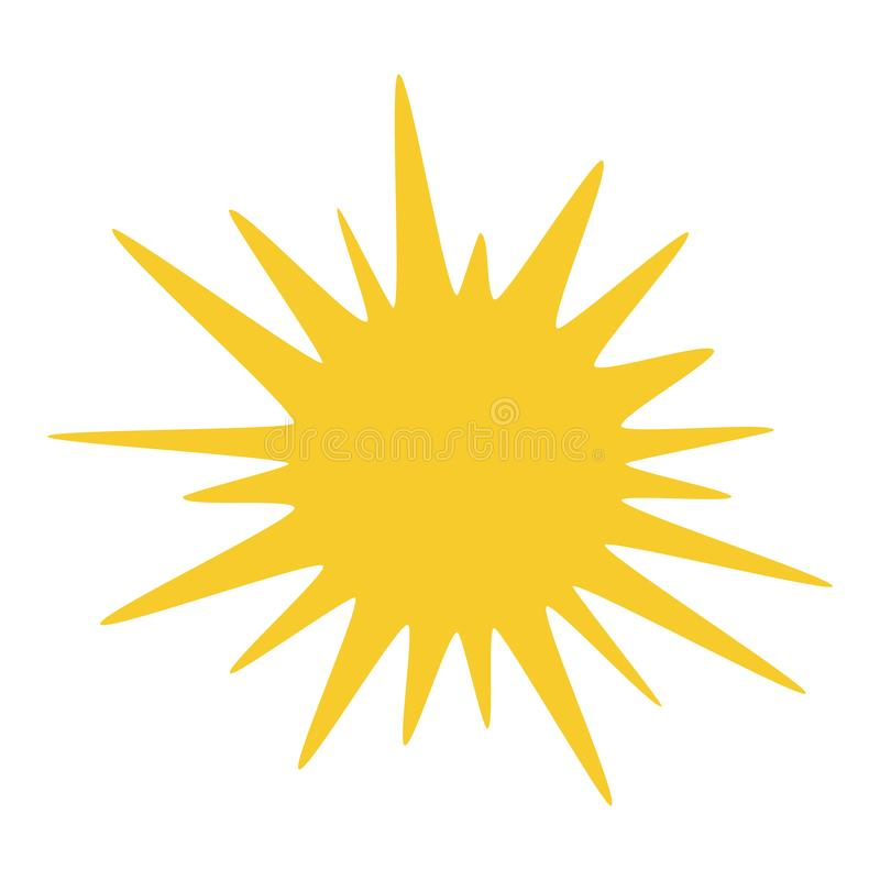 Vector sun illustration, creative yellow icon for warm or hot weather design vector illustration
