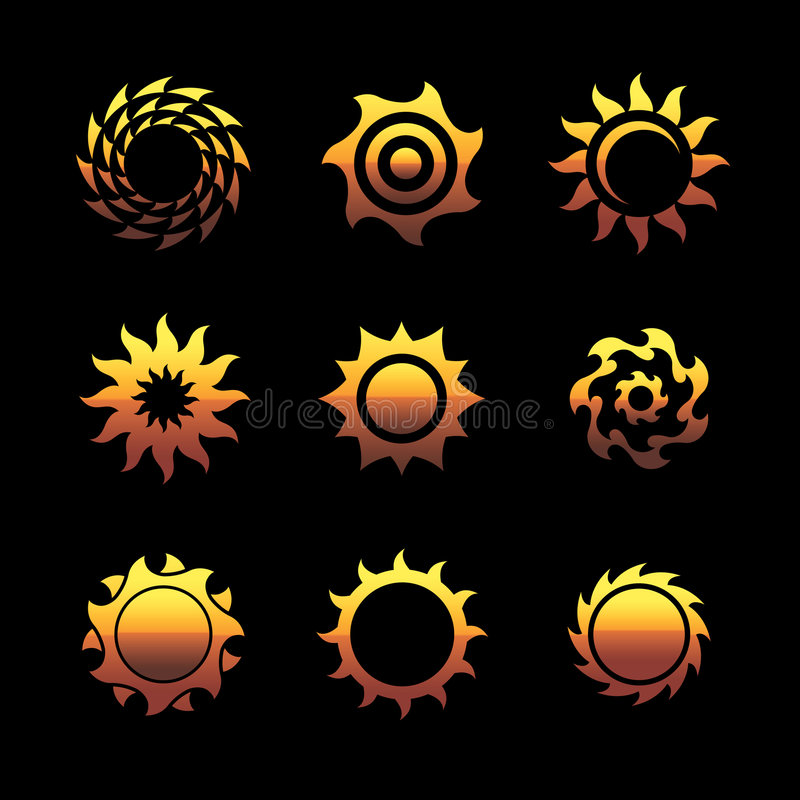 Vector sun logos royalty free illustration