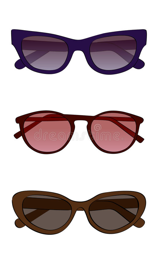 Vector sunglasses with colored glass. On a white background vector illustration