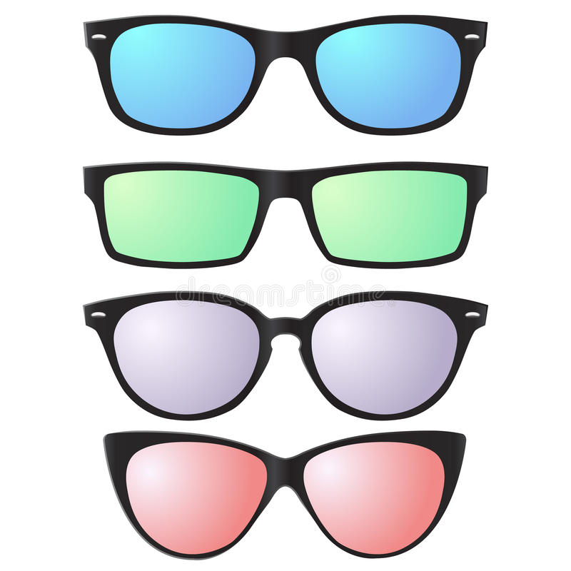 Vector sunglasses icons with semitransparent lenses stock photo