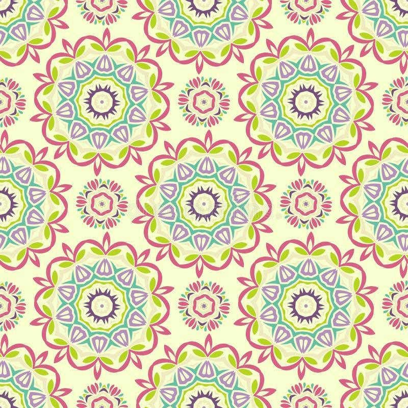Vector Sunny Mandala Pattern inconsútil Texturas envueltas geometría stock de ilustración