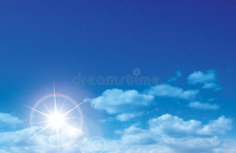 Vector sunny sky with clouds. Background stock illustration