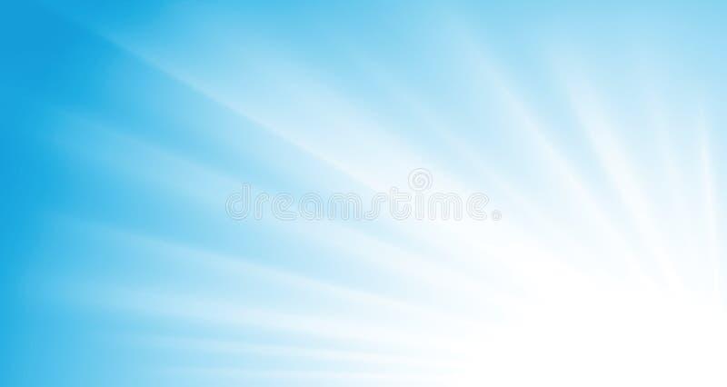 Vector sunrays. Sunrays on blue sky vector background stock illustration