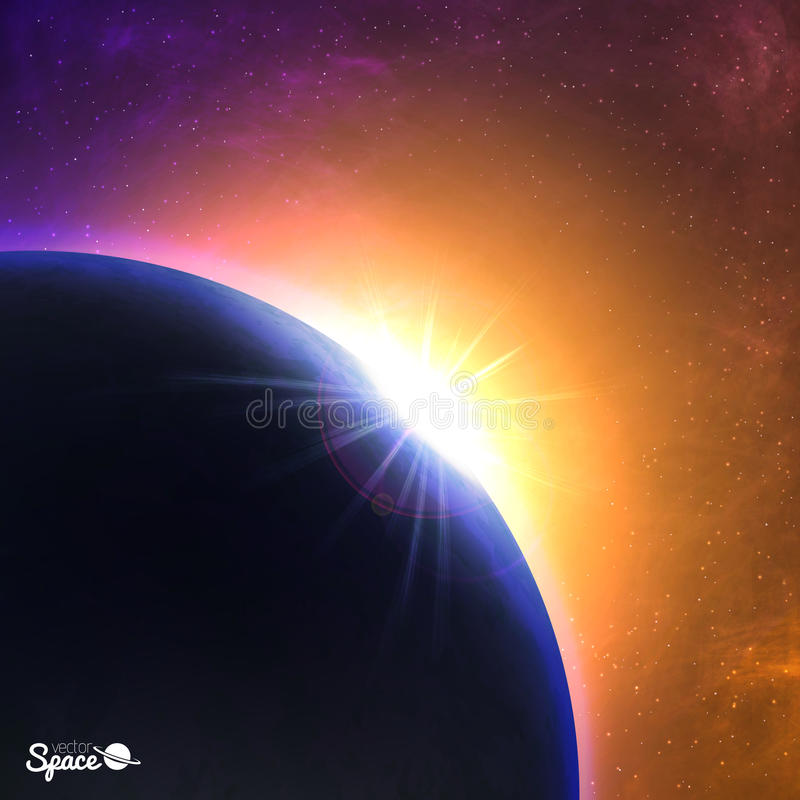 Vector sunrise over the planet. Beautiful dawn from space point of view. Cosmic background. royalty free illustration
