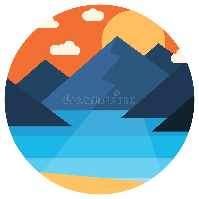 Vector sunset in the mountains by the sea royalty free illustration