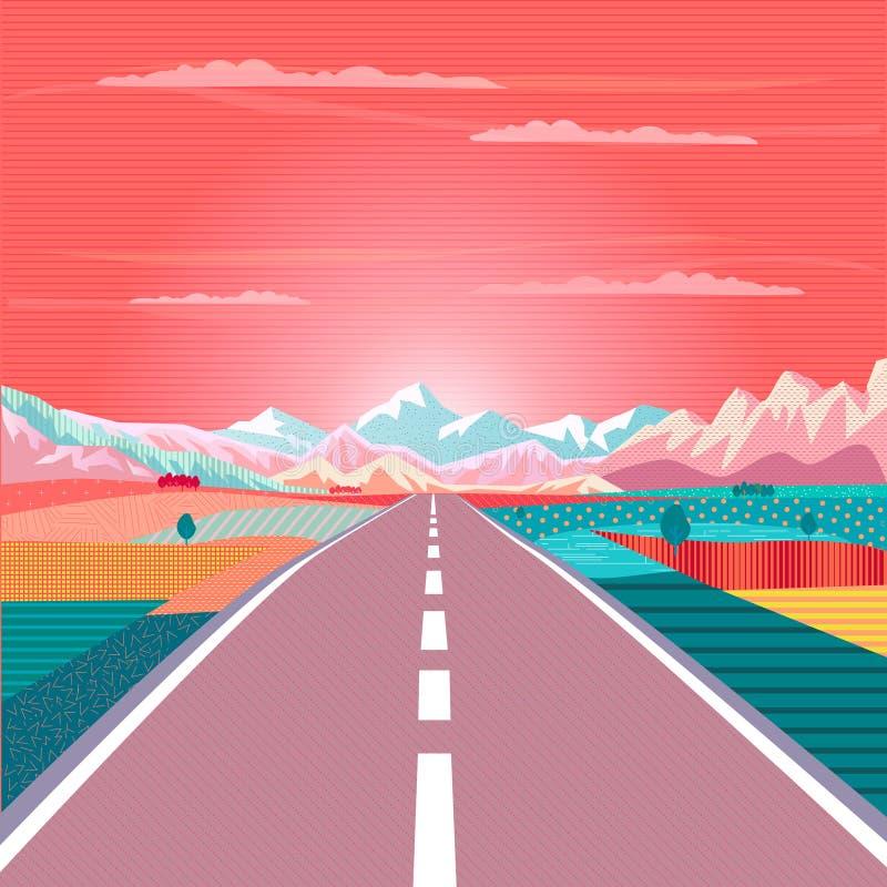 Road trip Rocky Mountain Sunset Summer travel adventure vector illustration